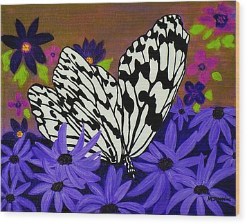 Wood Print featuring the painting Butterfly Heaven by Celeste Manning