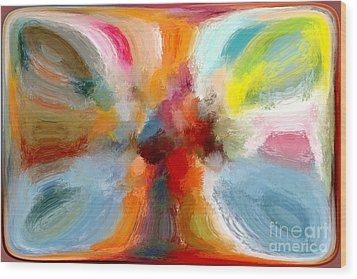 Butterfly In Abstract Wood Print by Andrea Auletta