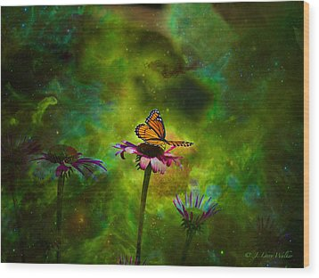 Wood Print featuring the digital art Butterfly In An Ethereal World by J Larry Walker