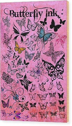 Butterfly Ink Wood Print by Mindy Bench