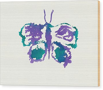 Wood Print featuring the painting Butterfly Inkblot by Frank Bright