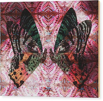 Wood Print featuring the digital art Butterfly Kaleidoscope by Kyle Hanson