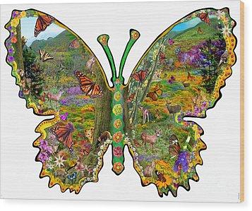 Butterfly Meadow Green Wood Print by Alixandra Mullins