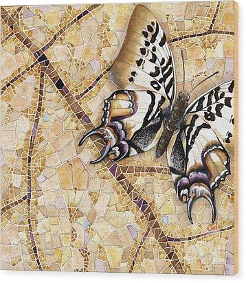 Wood Print featuring the painting Butterfly Mosaic 01 Elena Yakubovich by Elena Yakubovich