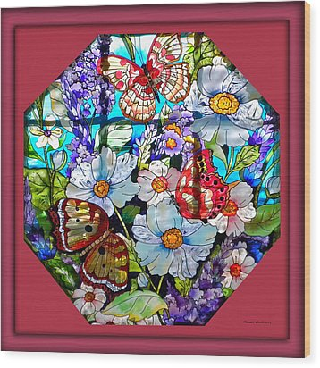 Butterfly Octagon Stained Glass Window Wood Print by Thomas Woolworth