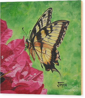 Wood Print featuring the painting Butterfly On Bougainvillea by Jimmie Bartlett