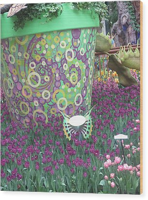 Butterfly Park Garden Painted Green Theme Wood Print by Navin Joshi
