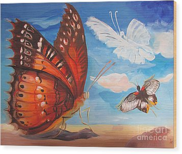 Butterfly Paysage 5 Wood Print
