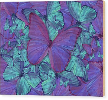 Butterfly Radial Violetmorpheus Wood Print by Alixandra Mullins