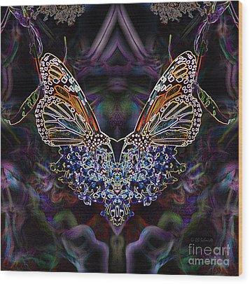 Wood Print featuring the digital art Butterfly Reflections 01 - Monarch by E B Schmidt