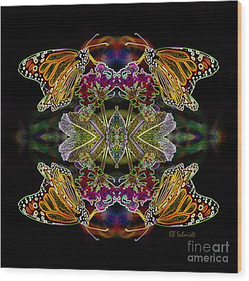 Wood Print featuring the digital art Butterfly Reflections 02 - Monarch by E B Schmidt
