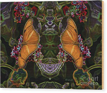 Wood Print featuring the digital art Butterfly Reflections 04 - Julia Heliconian by E B Schmidt