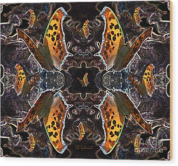 Wood Print featuring the digital art Butterfly Reflections 05 - Eastern Comma by E B Schmidt