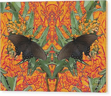 Wood Print featuring the digital art Butterfly Reflections 06 - Spicebush Swallowtail by E B Schmidt