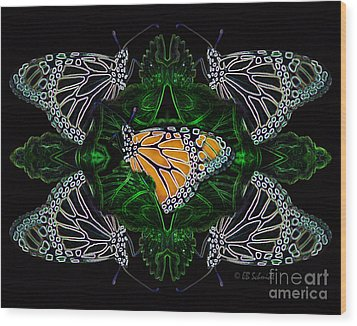 Wood Print featuring the digital art Butterfly Reflections 07 - Monarch by E B Schmidt