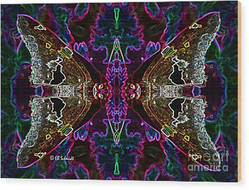 Wood Print featuring the digital art Butterfly Reflections 08 - Silver Spotted Skipper Reflections by E B Schmidt