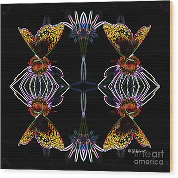 Wood Print featuring the digital art Butterfly Reflections 10  - Great Spangled Fritillary by E B Schmidt