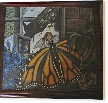 Butterfly Reflections Wood Print by Diane Mitchell