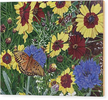 Butterfly Wildflowers Garden Oil Painting Floral Green Blue Orange-2 Wood Print by Walt Curlee