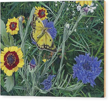 Butterfly Wildflowers Spring Time Garden Floral Oil Painting Green Yellow Wood Print by Walt Curlee