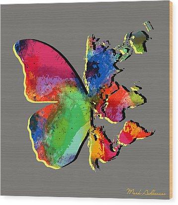 Butterfly World Map 2 Wood Print by Mark Ashkenazi