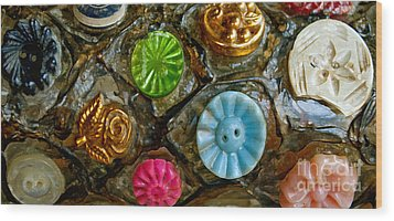Button Biographies Wood Print by Gwyn Newcombe