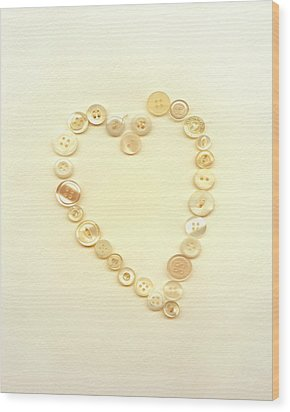 Button Heart Collage  Wood Print by Ann Powell