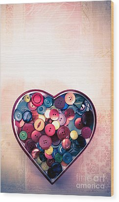 Button Love Wood Print