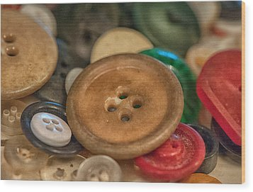 Buttons Wood Print by Brenda Bryant