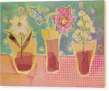 Buttons Wood Print by Diane Fine