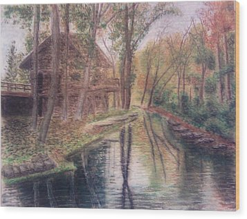 Butts Mill Farm Wood Print by Andrew Pierce
