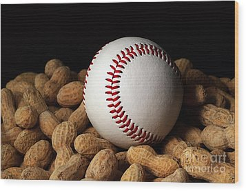 Buy Me Some Peanuts - Baseball - Nuts - Snack - Sport Wood Print by Andee Design
