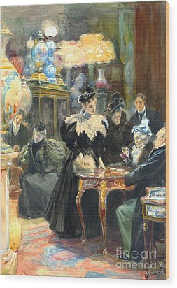 Buying Christmas Presents 1895 Wood Print by Padre Art