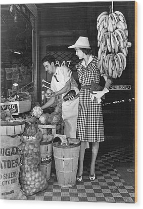 Buying Fruit And Vegetables Wood Print by Underwood Archives