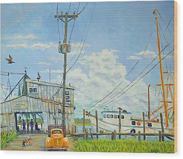 Wood Print featuring the painting Buying Shrimp In Rockville by Dwain Ray