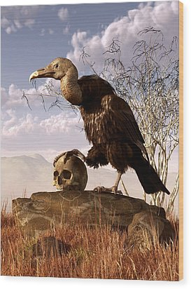Buzzard With A Skull Wood Print by Daniel Eskridge