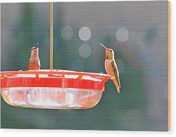 Buzzing Overhead Wood Print by Lynn Bauer