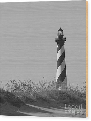 Bw Of Hatteras Lighthouse Wood Print