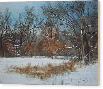 By Rattlesnake Creek Wood Print by Denny Dowdy