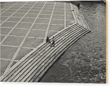 By The Banks Of Seine Black And White Wood Print by Aleksander Rotner