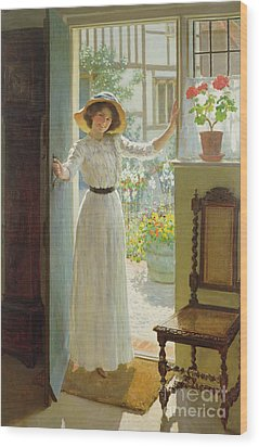 By The Cottage Door Wood Print by William Henry Margetson