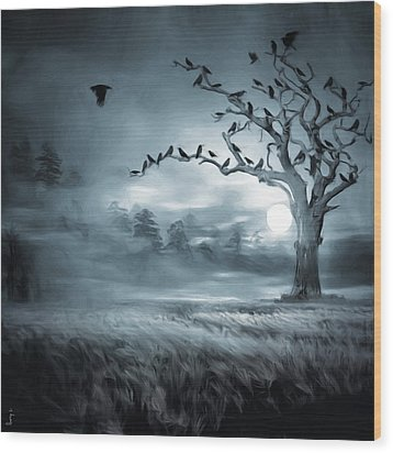 By The Moonlight Wood Print by Lourry Legarde