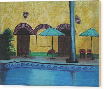 By The Poolside Wood Print by Jeanne Fischer
