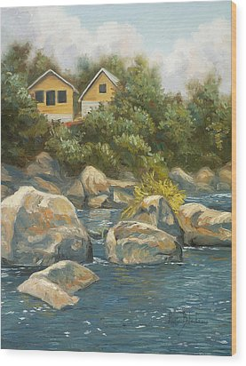 By The River Wood Print by Lucie Bilodeau