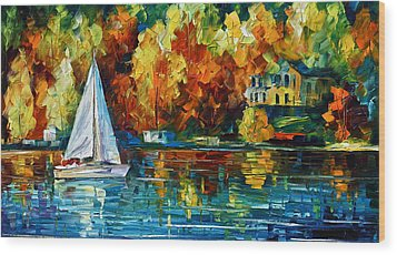 By The Rivershore Wood Print by Leonid Afremov