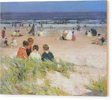 By The Shore Wood Print by Edward Potthast