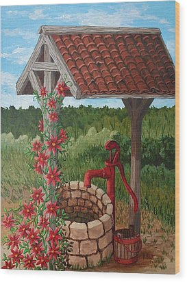 Wood Print featuring the painting By The Water Pump by Katherine Young-Beck