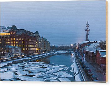 Bypass Canal Of Moscow River - Featured 3 Wood Print by Alexander Senin