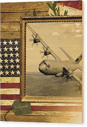 C-130 Hercules Rustic Flag Wood Print by Reggie Saunders