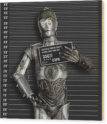 C-3po Mug Shot Wood Print by Tony Rubino